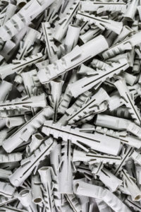 Dowels grey in different sizes, from above,