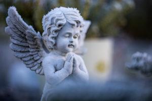 Hoarfrost, angel figure, Heilig Land cemetery, Wilhelmshaven,