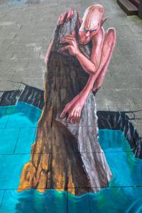 7th International StreetArt Festival, motif by artist Kerim Masanovic, shopping street, Marktstraße, Wilhelmshaven, Lower Saxony,