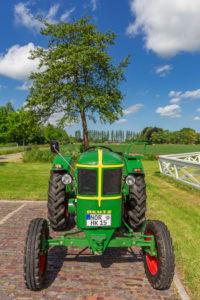 Tractor Deutz year of manufacture 1952/15 hp, detail, Tjaden's mill, Südcoldinne, parish Großheide, East Frisia,