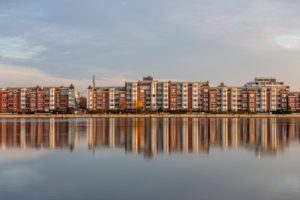 Morning mood, large harbor, houses on Bontekai, Wilhelmshaven, Lower Saxony,