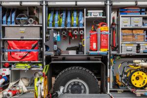Fire engine, equipment, tools, fire hoses, Wilhelmshaven,