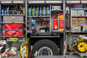 Fire engine, equipment, tools, fire hoses, Wilhelmshaven,