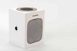 Apple HomePod, original packaging, white background,