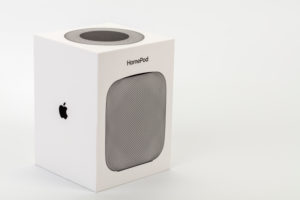 Apple HomePod, original packaging, white background,