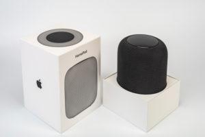 Apple HomePod, original packaging, opened, white background,