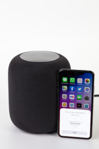Apple HomePod, configure with iPhone, set up, white background,
