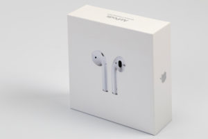 Apple AirPods 2, in original packaging, wireless, white background,