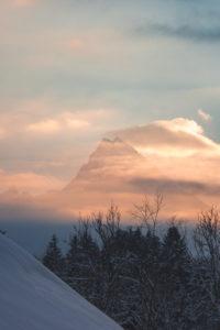 Winter landscape with Watzmann at sundown, district Berchtesgaden, Bavaria, Germany