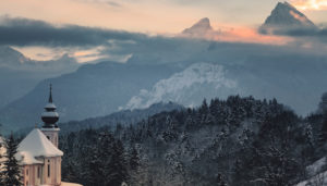 Winter landscape with church Maria Gern and Watzmann, district Berchtesgaden, Bavaria, Germany