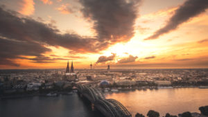 City panorama at sundown, Cologne, North Rhine-Westphalia, Germany