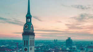Tower of Saint Peter in front of old town, Munich, Upper Bavaria, Bavaria, Germany
