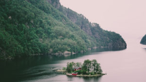 Typical fjord landscape with small island, Norway, Scandinavia