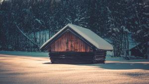 Snow-covered wooden hut at the Barmsee, near Mittenwald, Werdenfelser Land, district Garmisch-Partenkirchen, Bavaria, Germany