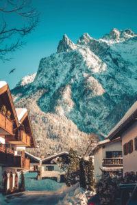 Village view in front of Viererspitze, Mittenwald, Karwendel, district Garmisch-Partenkirchen, Bavaria, Germany