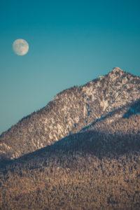 Full moon over snow-covered mountains, Mittenwald, Werdenfelser Land, district Garmisch-Partenkirchen, Bavaria, Germany
