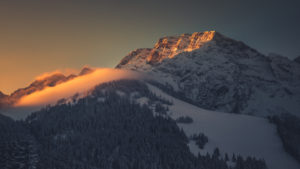 View to the Hoher Göll in winter from the Roßfeld panorama route, district Berchtesgaden, Bavaria, Germany