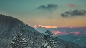 View at winter landscape from the Roßfeld panorama route, district Berchtesgaden, Bavaria, Germany