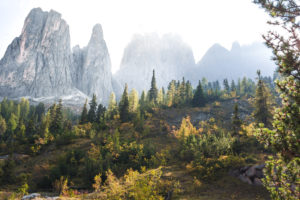 Rock formations of the Geisler Group in autumn and sunrise in the Dolomites, South Tyrol, Italy