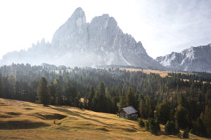 The summit chain of the Peitlerkofel in autumn and sunrise in front of an alpine meadow, forest and hut in the Dolomites, South Tyrol, Italy