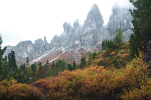 A rock formation near the Peitlerkofel in the Dolomites, South Tyrol, Italy