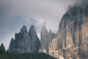 Striking rock formations in the Dolomites, South Tyrol, Italy