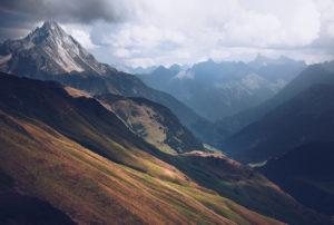 View from the hiking trail around the Widderstein tour at the height of the Großer Widderstein in Kleinwalsertal, Austria in summer