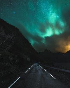 Nordlichter über den Fjorden der Insel Senja in Norwegen. Eine Straße führt ins Dunkle