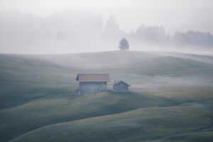 Sunrise over the Seiser Alm / Alpe di Siusi in the Dolomites, South Tyrol, Italy. Fog obscures the individual forest sections and alpine huts.