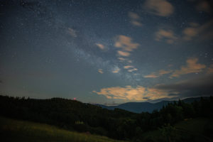 Milky Way over the northern Black Forest in summer at night.