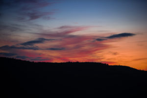 Sunset over the northern Black Forest in summer.
