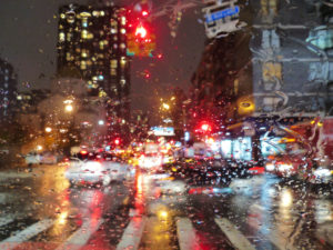 Street, traffic, car, rain drops on windshield, New York in rain