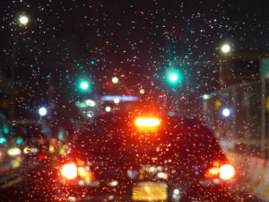 Brake lights of the vehicle during rain