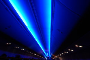 Interior light of Ryanair aircraft. Ryanair operates a fleet of over 450 Boeing 737-800 series aircraft