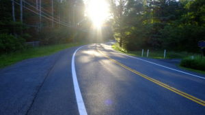 New York State Route 212 during sunrise. Lake Hill, NY