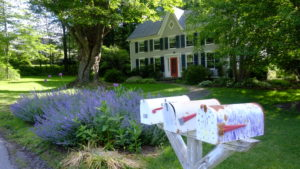 Colonial house with three mail boxes, Woodstock NY