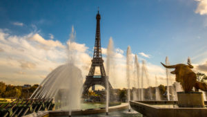 Europe, France, Paris, Jardin du Trocadero, Fountain of Warsaw