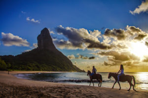 South America, Brazil, Fernando de Korona, island, rider on the beach