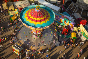 Europe, Germany, Bavaria, Munich, Oktoberfest, swing carousel from above