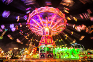 Europe, Germany, Bavaria, Upper Bavaria, Munich, Oktoberfest, swing carousel at night