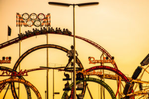 Europe, Germany, Bavaria, Upper Bavaria, Munich, Oktoberfest, 'Barth und Sohn', looping (fun) ride