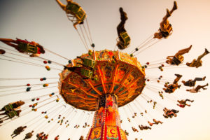 Europe, Germany, Bavaria, Upper Bavaria, Munich, Oktoberfest, swing carousel while flying