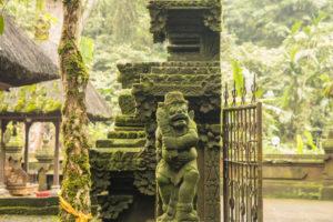Temple complex near Jatiluwih, Bali, guardian figure,