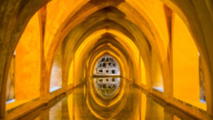Europe, Spain, Andalusia, Seville, Real Alcazar, Gothic palace, vault, baths of Maria de Padilla,