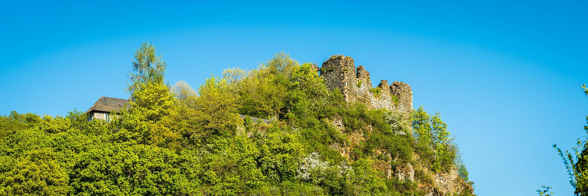 Rosenburg-Ruine in Argenschwang, im Soonwald (Hunsrück) im Gräfenbachtal
