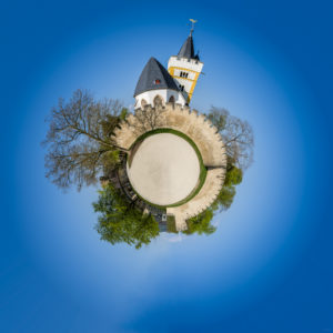 Burgkirche in Ingelheim als 'little planet' Version