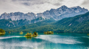 View from the northeast bank of the Eibsee to the Zugspitze, Werdenfelser Land,