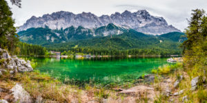 North shore of the Eibsee, Zugspitze in the background, Alpensee in the Werdenfelser Land,