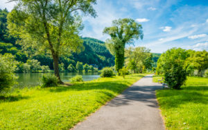 Waterfront promenade near Traben-Trarbach, middle Moselle