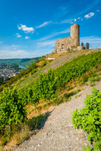 Landshut Castle near Bernkastel-Kues, view of Kues, one of the most beautiful Moselle castles, Moselle loop also worth seeing,